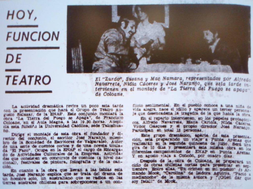 1974 - La tierra del fuego se apaga - El Sur 12 de julio