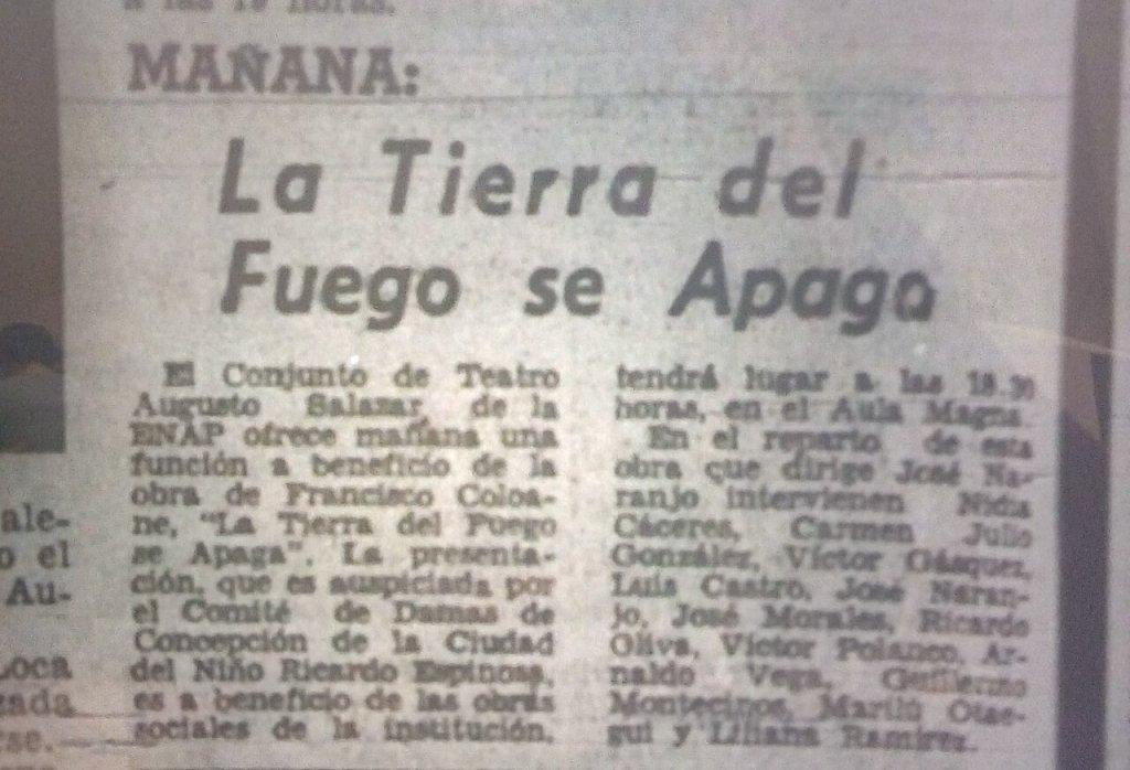1974 - La tierra del fuego se apaga - El Sur 26 de septiembre