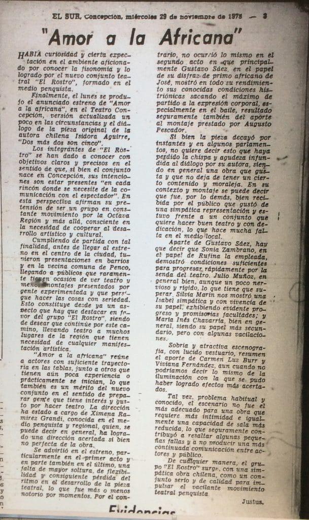 1978 - Amor a la africana - El Sur 29 de noviembre
