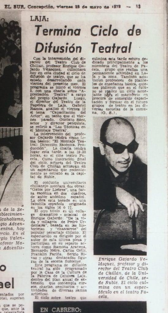 1978 - Ciclo de difusión de teatro en Laja - El Sur 28 de mayo