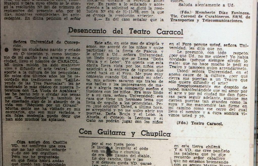 1978 - Desencanto del Teatro Caracol - El Sur 13 diciembre de 1978