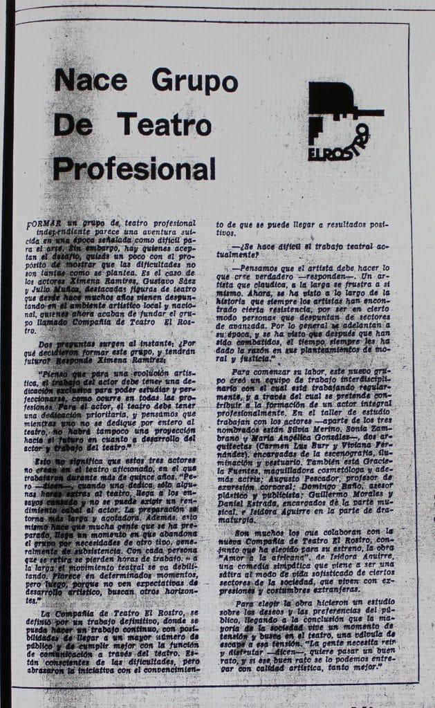 1978 - Nace grupo de teatro profesional - El Sur 27 de agosto