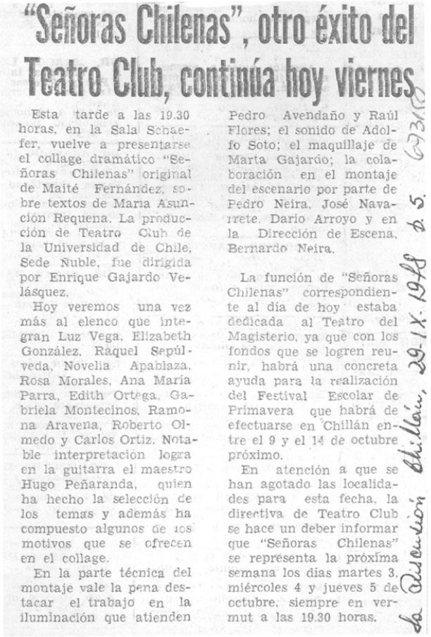 1978 - Señoras chilenas - La Discusión 29 de septiembre - Biblioteca Nacional