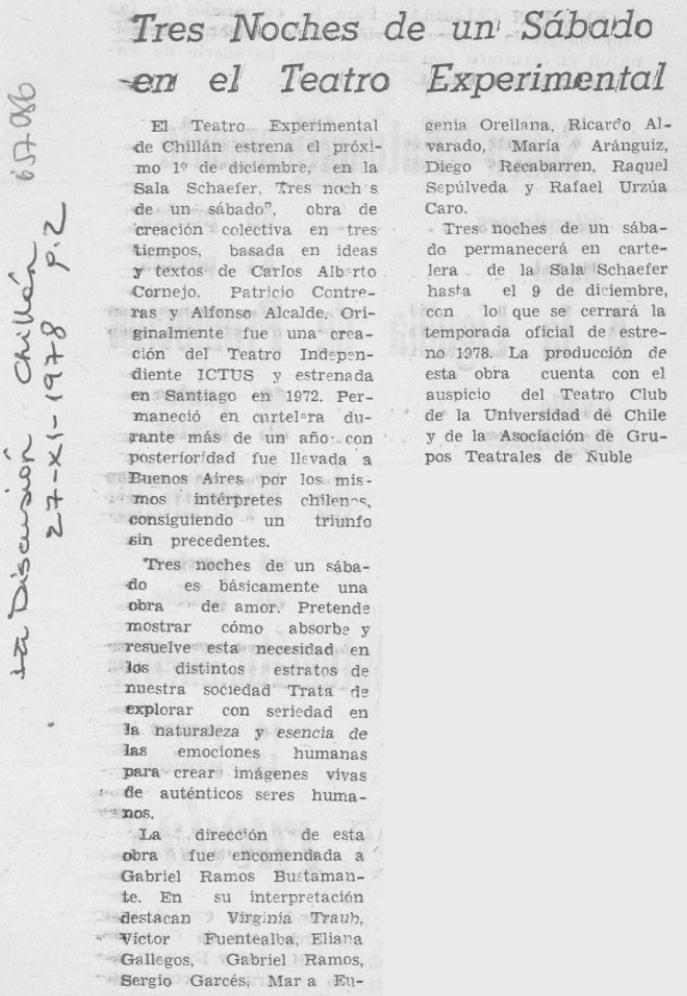 1978 - Tres noches de un sábado - La discusión 27 de noviembre
