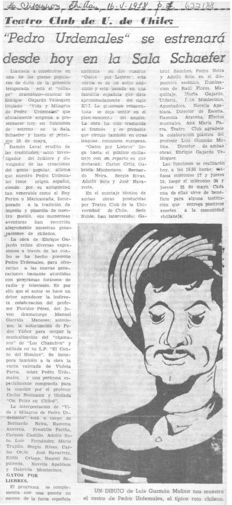 1978 - Vida y milagros de Pedro Urdemales - La Discusión 16 de mayo - Biblioteca Nacional