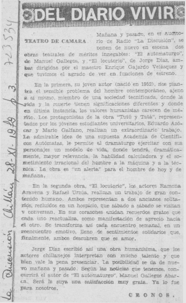 1979 - El Locutorio - La discusión 28 de noviembre - Biblioteca Nacional