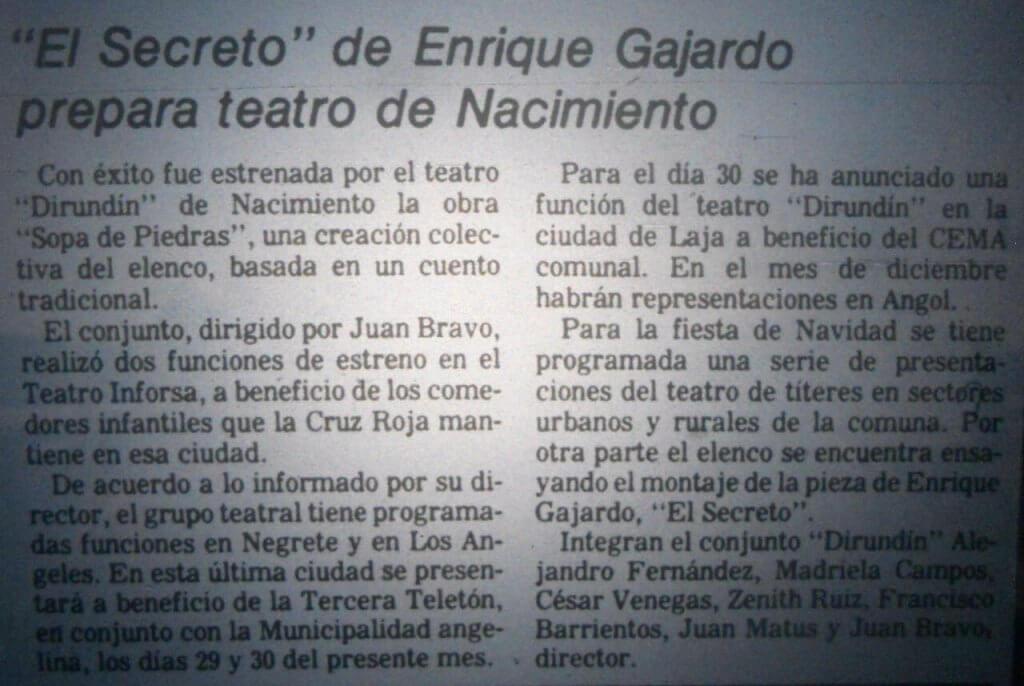 1980 - El Secreto - El Sur 27 de noviembre