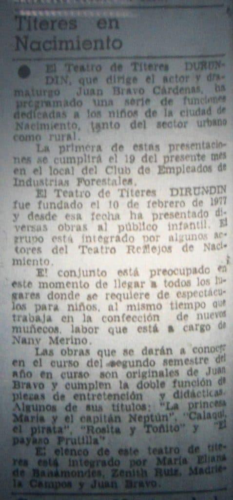 1980 - Dirundín - El Sur 14 de julio