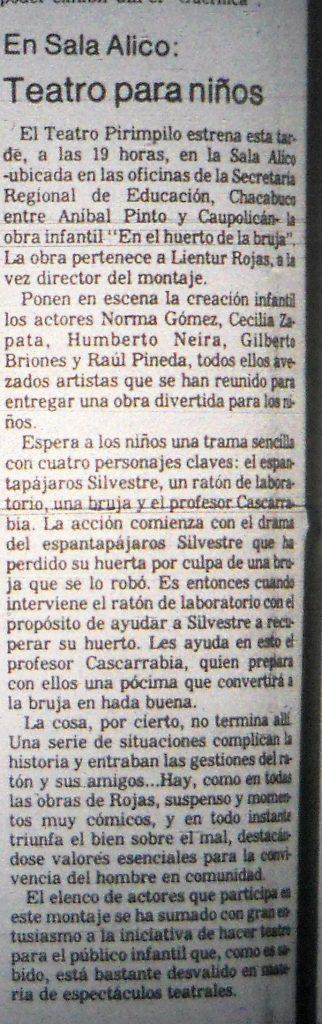 1980 - En el huerto de la bruja - El Sur 18 de diciembre