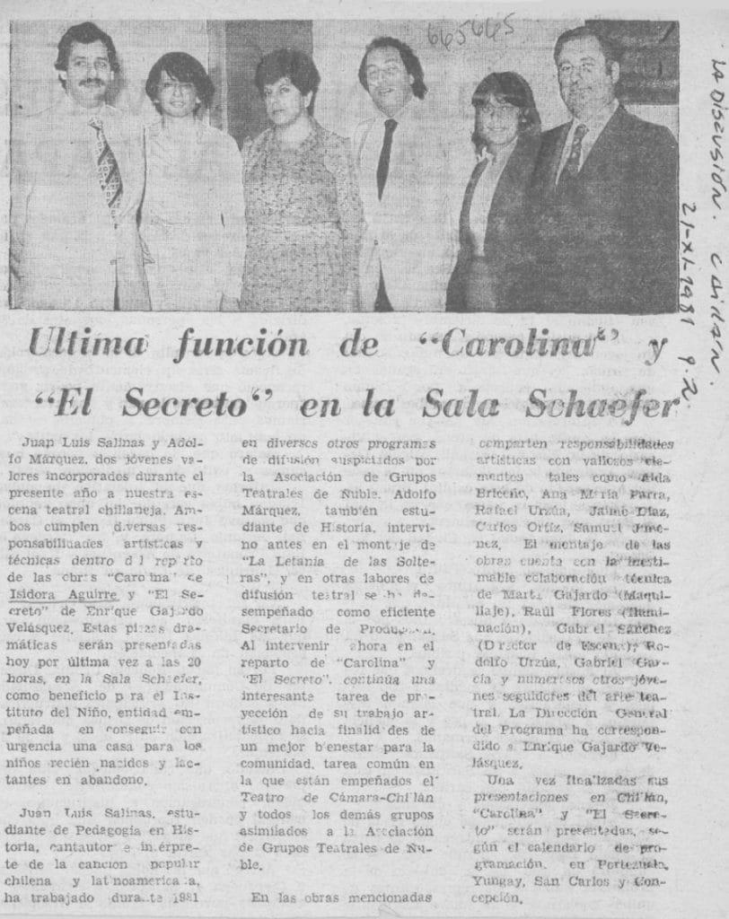 1981 - El secreto - Carolina - La Discusión 21 de noviembre - Biblioteca Nacional
