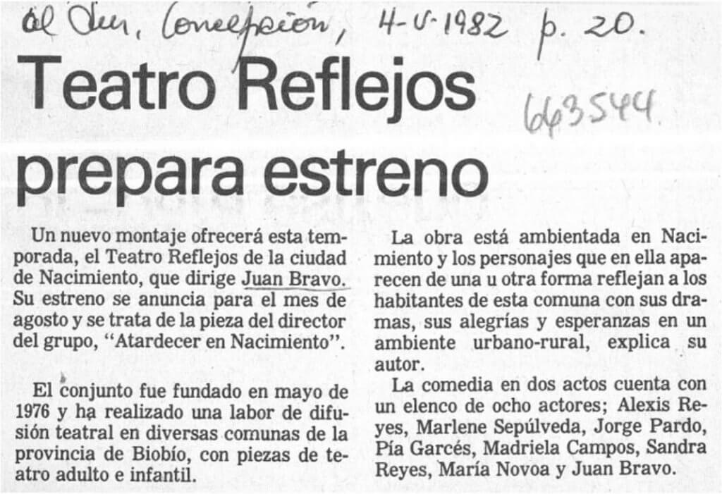 1982 - Atardecer en Nacimiento - El Sur 4 mayo
