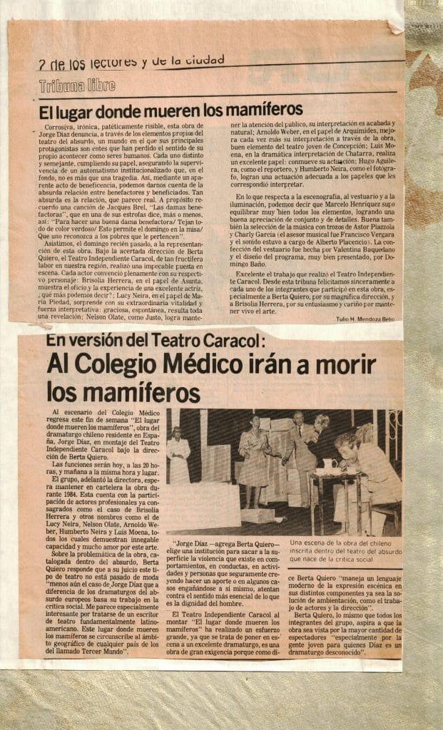 1983 - El lugar donde mueren los mamíferos - El Sur - Gentileza de Berta Quiero