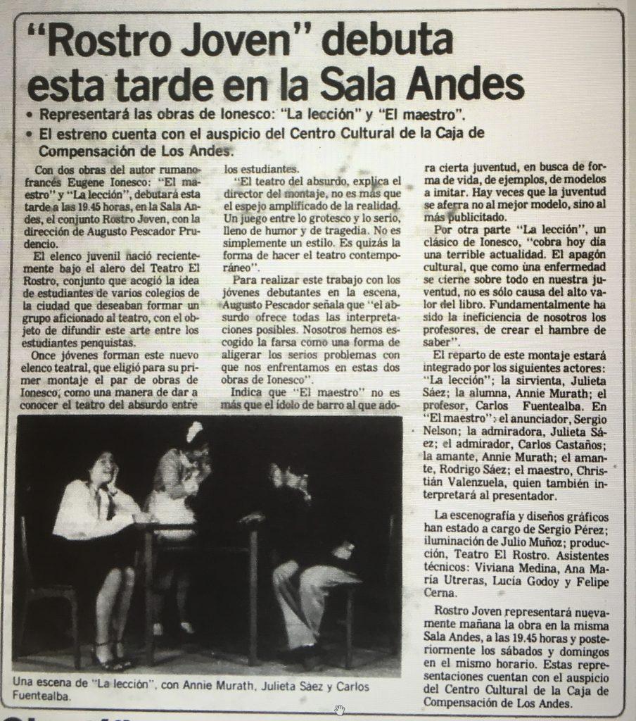 1983 - El rostro joven - El Sur 19 de noviembre