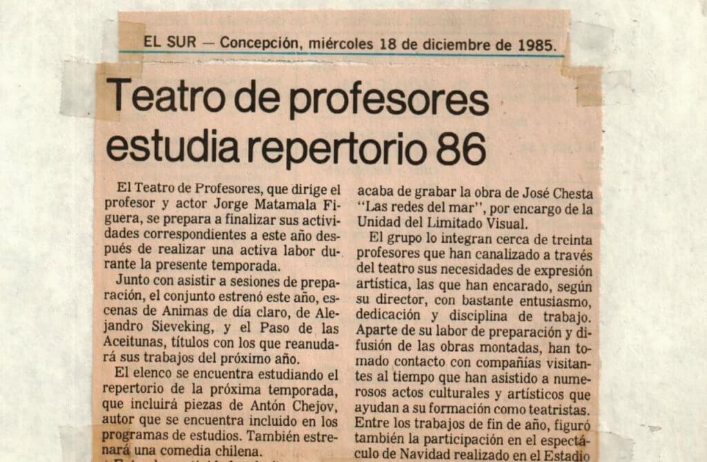 1985 - Teatro de profesores estudia repertorio 86 - El Sur 18 de diciembre - Gentileza del Colegio de Profesores