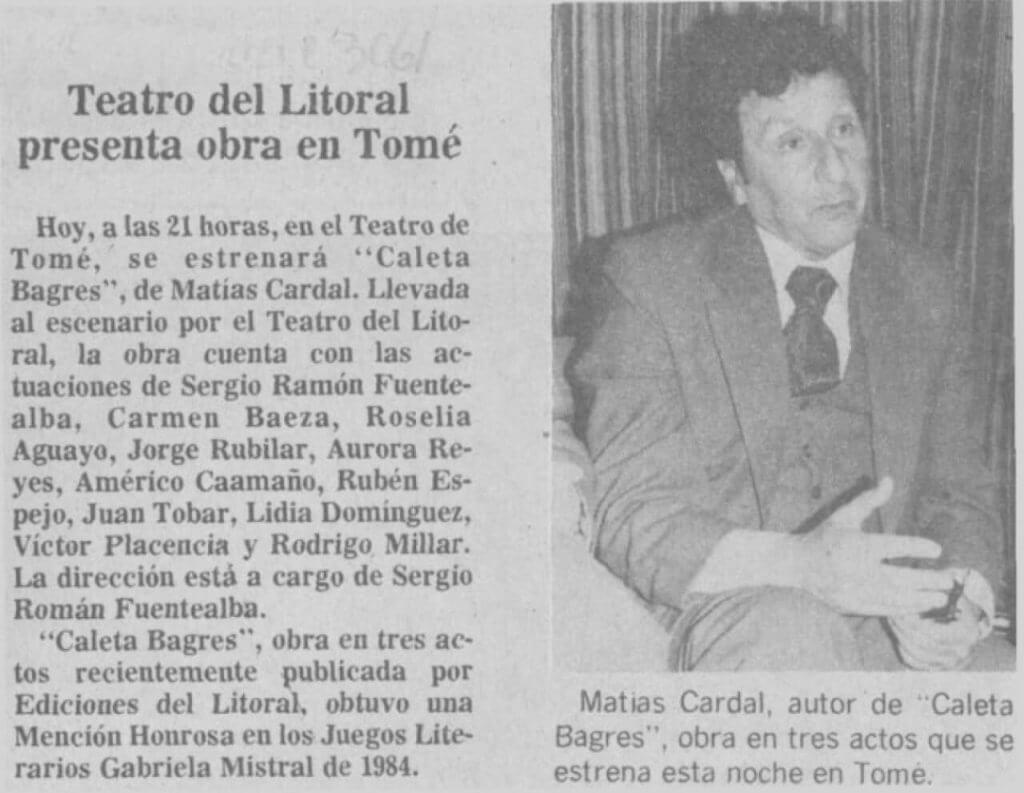 1986 - Caleta Bagres - El Sur 29 de enero - Biblioteca Nacional