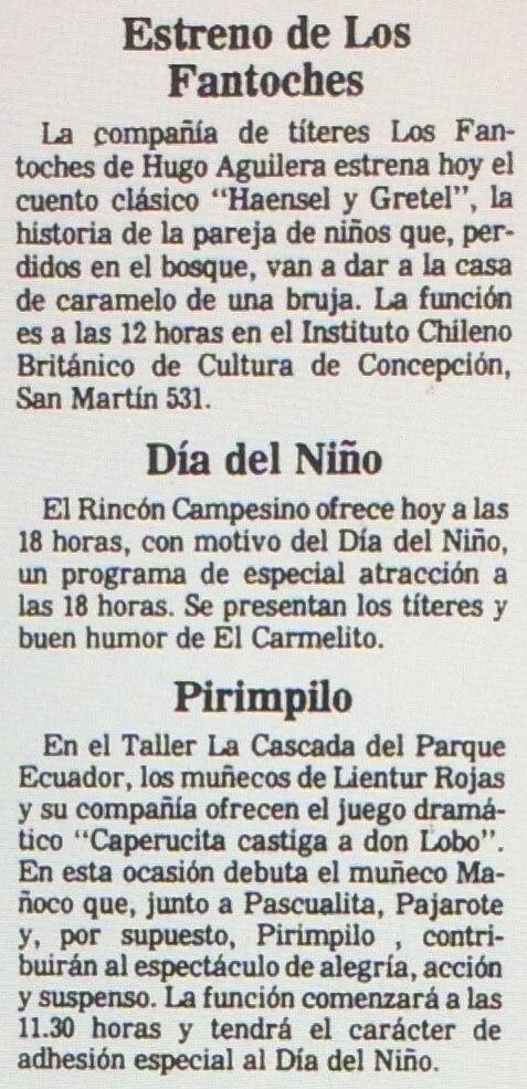 1986 - Hansel y Gretel - El Sur 03 de agosto