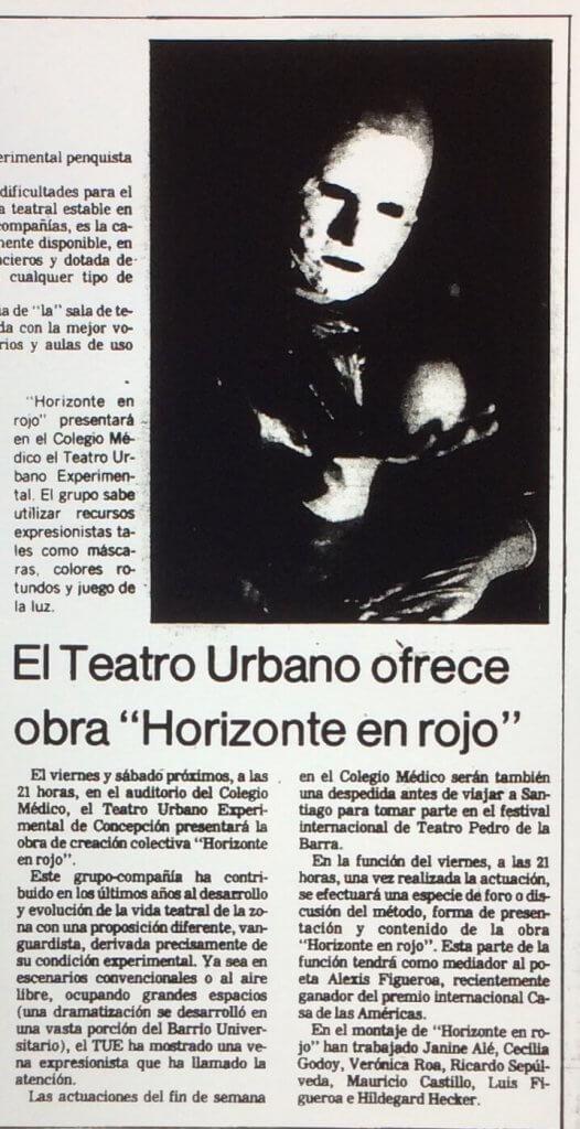 1986 - Horizonte en rojo - El Sur 12 de junio