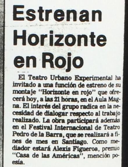 1986 - Horizonte en rojo - El Sur 20 de junio