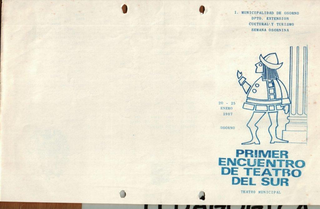 1986 - Programa 1er Encuentro de Teatro del Sur - portada - Gentileza del Colegio de Profesores