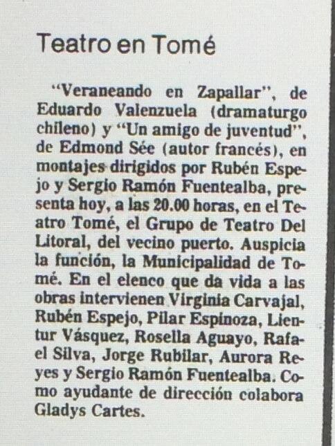 1986 - Veraneando en zapallar - Un amigo de juventud - El Sur 01 de octubre
