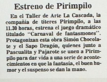 1986 - Carnaval de fantasmones - El Sur 13 de julio