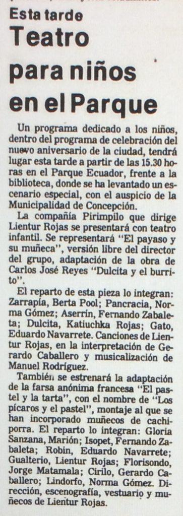 1986 - El payaso y su muñeca - Los pícaros y el pastel - El Sur 11 de octubre