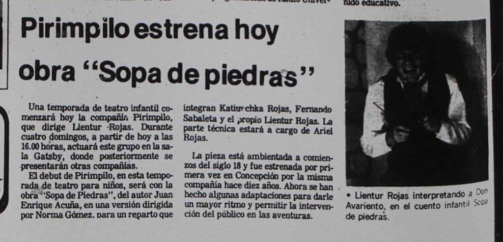 1986 - Sopa de piedras - El Sur 15 de mayo