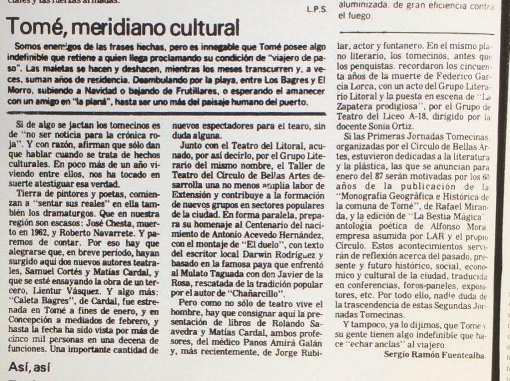 1986 - Tomé, meridiano cultural - El Sur 14 de noviembre