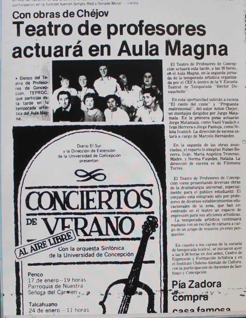 1988 - El canto del cisne - Propuesta matrimonial - El Sur 12 de enero