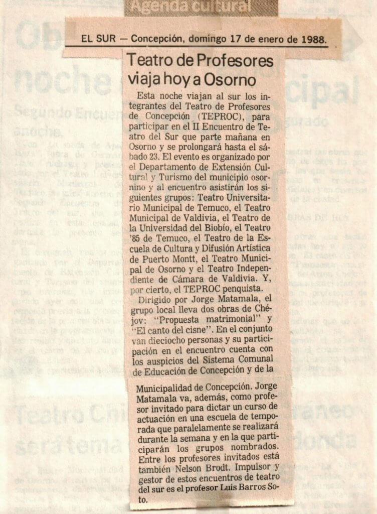 1988 - Propuesta matrimonial - El canto del cisne - El Sur 17 de enero - Gentileza del Colegio de Profesores