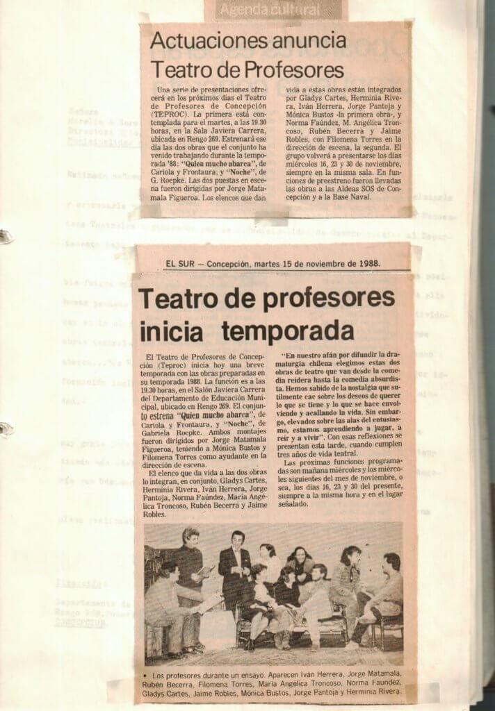 1988 - Quien mucho abarca - Noche - El Sur 15 de noviembre -Gentileza del Colegio de Profesores