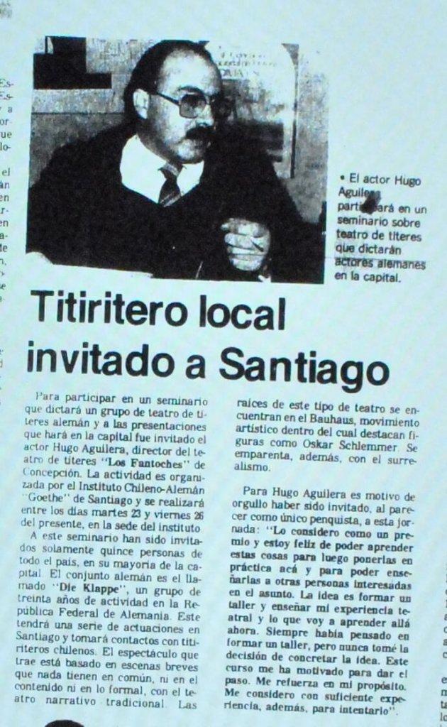 1988 - Titiritero local invitado a Santiago - El Sur 20 de agosto