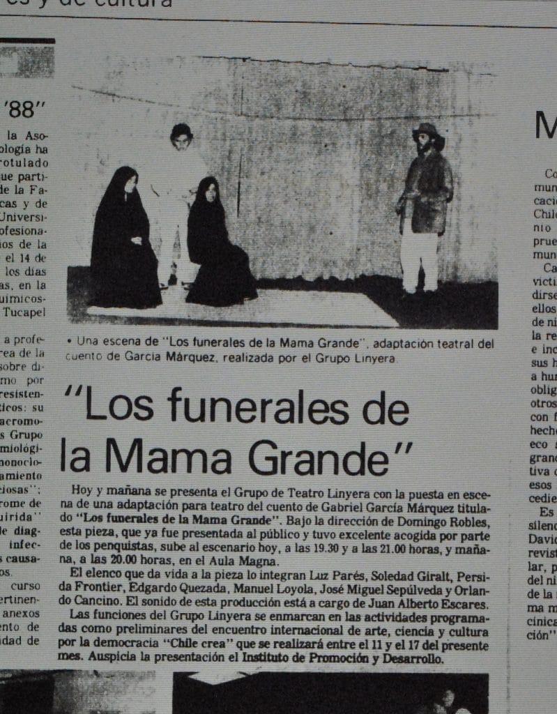 1988 - Los funerales de Mama Grande - El Sur 9 de julio