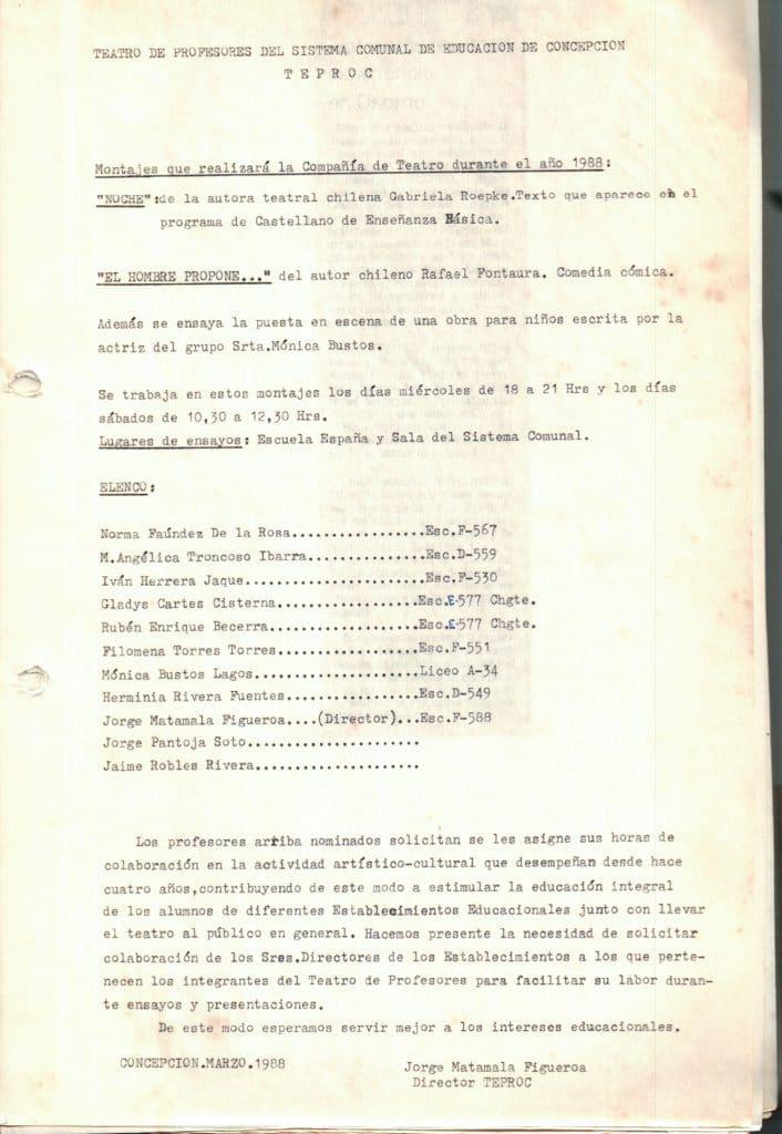 1988 - Montajes que realizará la Compañía de Teatro durante 1988 - Gentileza del Colegio de Profesores