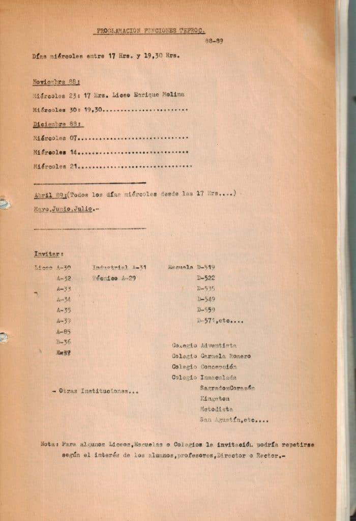1988 - Programación funciones TEPROC - Gentileza del Colegio de Profesores