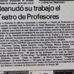 1988 - Reaunudó su trabajo el teatro de profesores - El Sur 18 de marzo