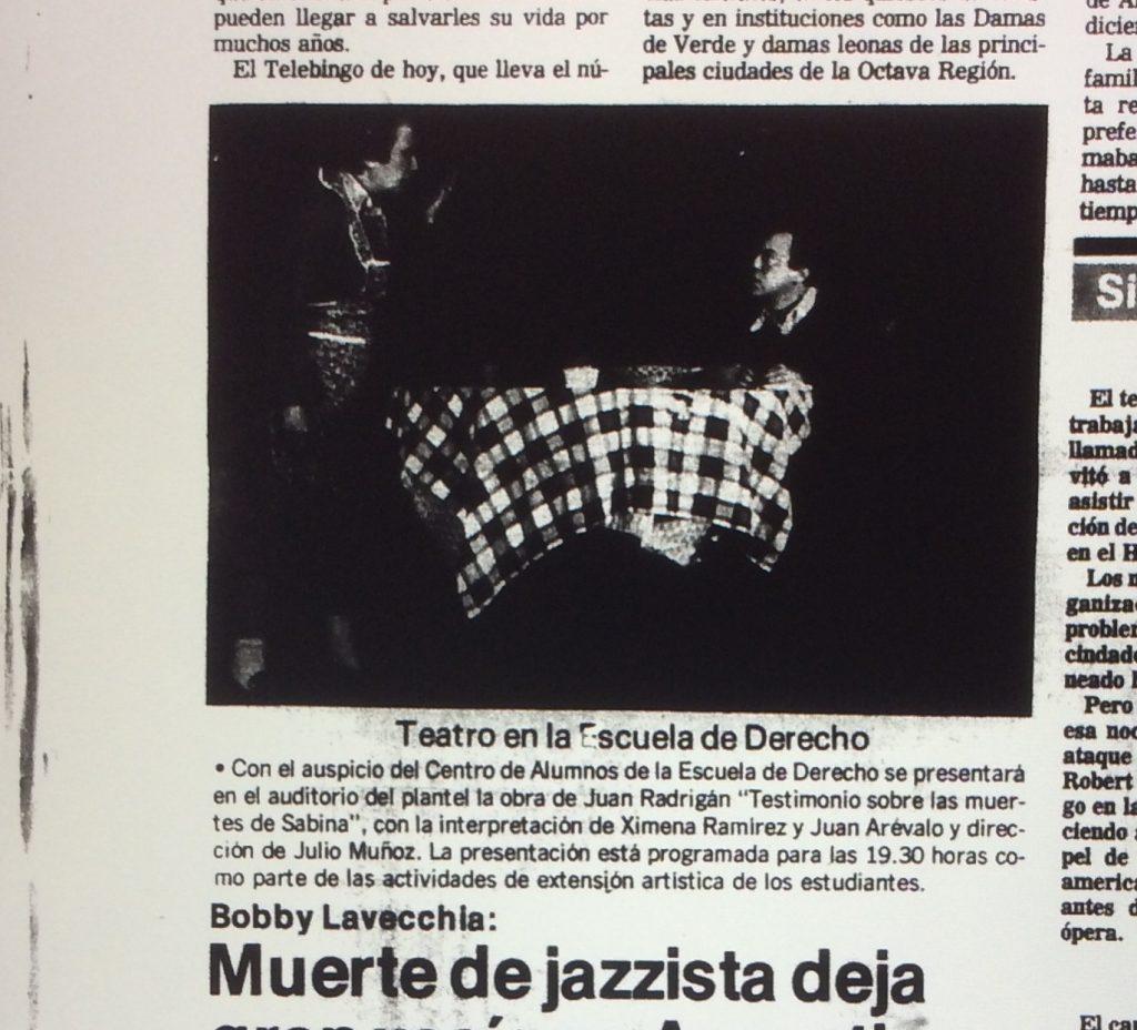1989 - Testimonio sobre las muertes de Sabina - El Sur 27 de abril