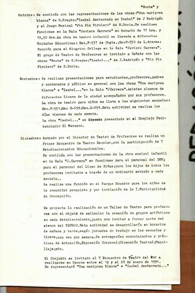1990 - Informe de actividades - Gentileza del Colegio de Profesores