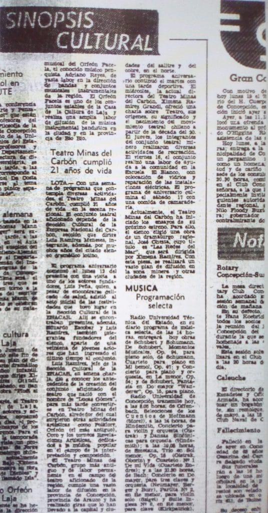 1975 - 21 años de vida Teatro de ENACAR Teatro minas del Carbón - El Sur 19 de mayo