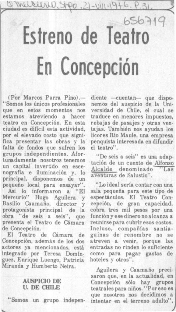 1976 - De seis a seis - El Mercurio 21 de agosto - Biblioteca Nacional