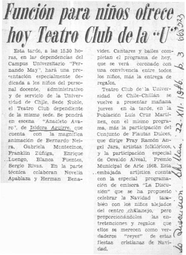1976 - Anacleto Avaro - La Discusión 2 de diciembre - Biblioteca Nacional
