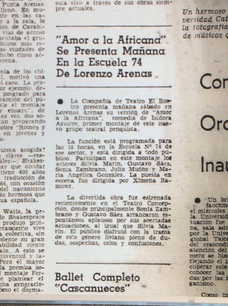1978 - Amor a la africana - El Sur 1 de diciembre