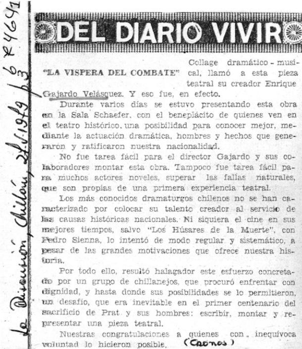 1978 - La víspera del combate - La Discusión 27 de mayo - Biblioteca Nacional