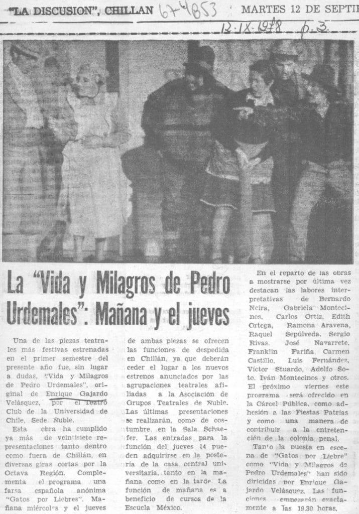 1978 - Vida y milagros de Pedro Urdemales - La Discusión 12 de septiembre - Biblioteca Nacional