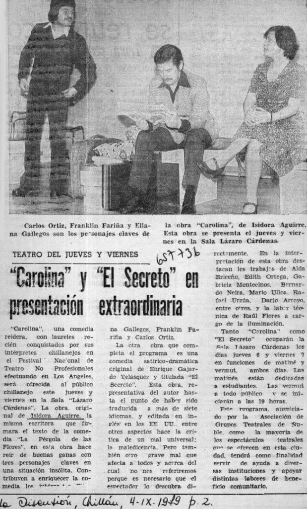 1979 - El secreto - Carolina - La Discusión 4 de septiembre - Biblioteca Nacional
