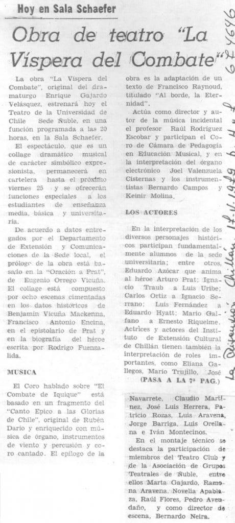 1979 - La víspera del combate - La Discusión 17 de mayo - Biblioteca Nacional