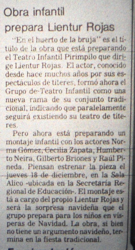 1980 - En el huerto de la bruja - El Sur 4 de diciembre
