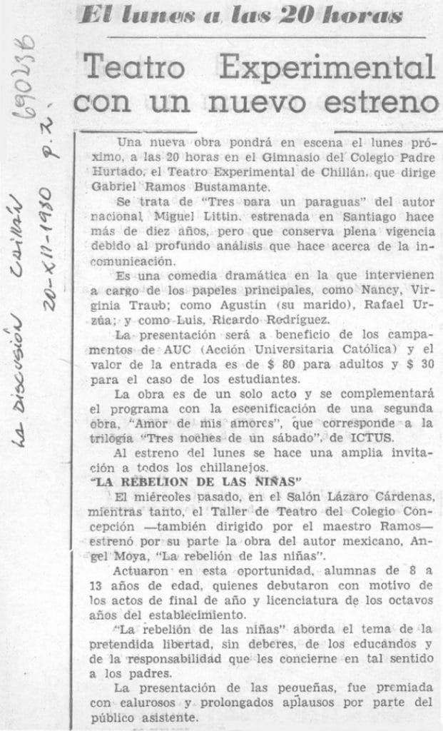 1980 - Tres para un paraguas - La discusión 20 de diciembre