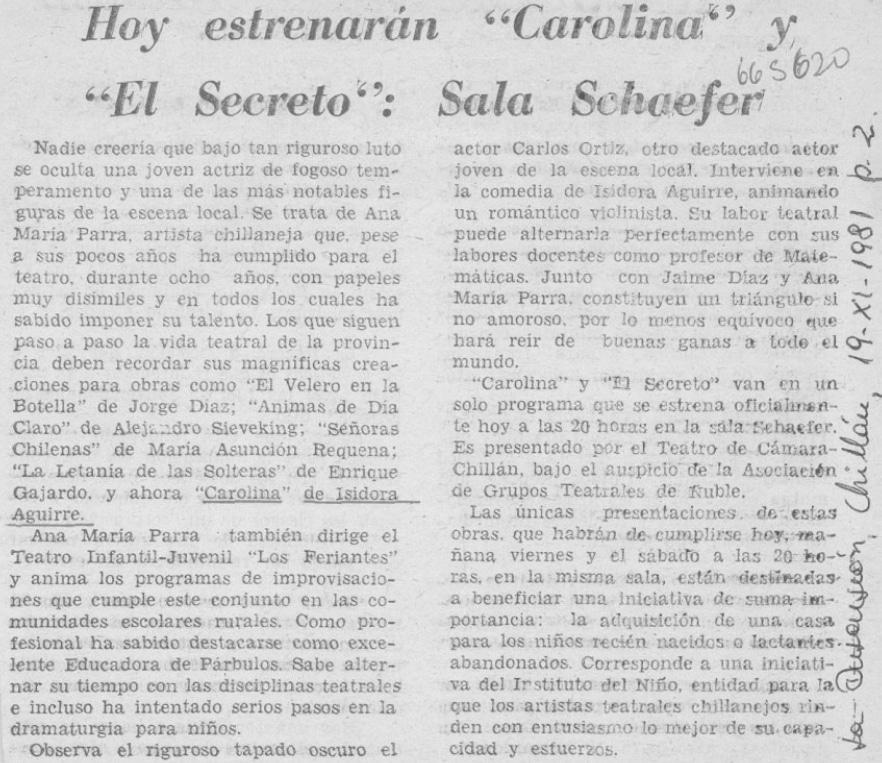 1981 - El secreto - Carolina - La Discusión 19 de noviembre - Biblioteca Nacional