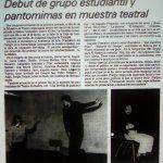 1982 - Debut de grupo estudiantil y pantomina en muestra teatral - El Sur 23 de septiembre